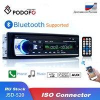 Podofo Bluetooth Autoradio Car Stereo Radio FM Aux Input Receiver SD USB JSD-520 12V In-dash 1 din Car MP3 USB Multimedia Player