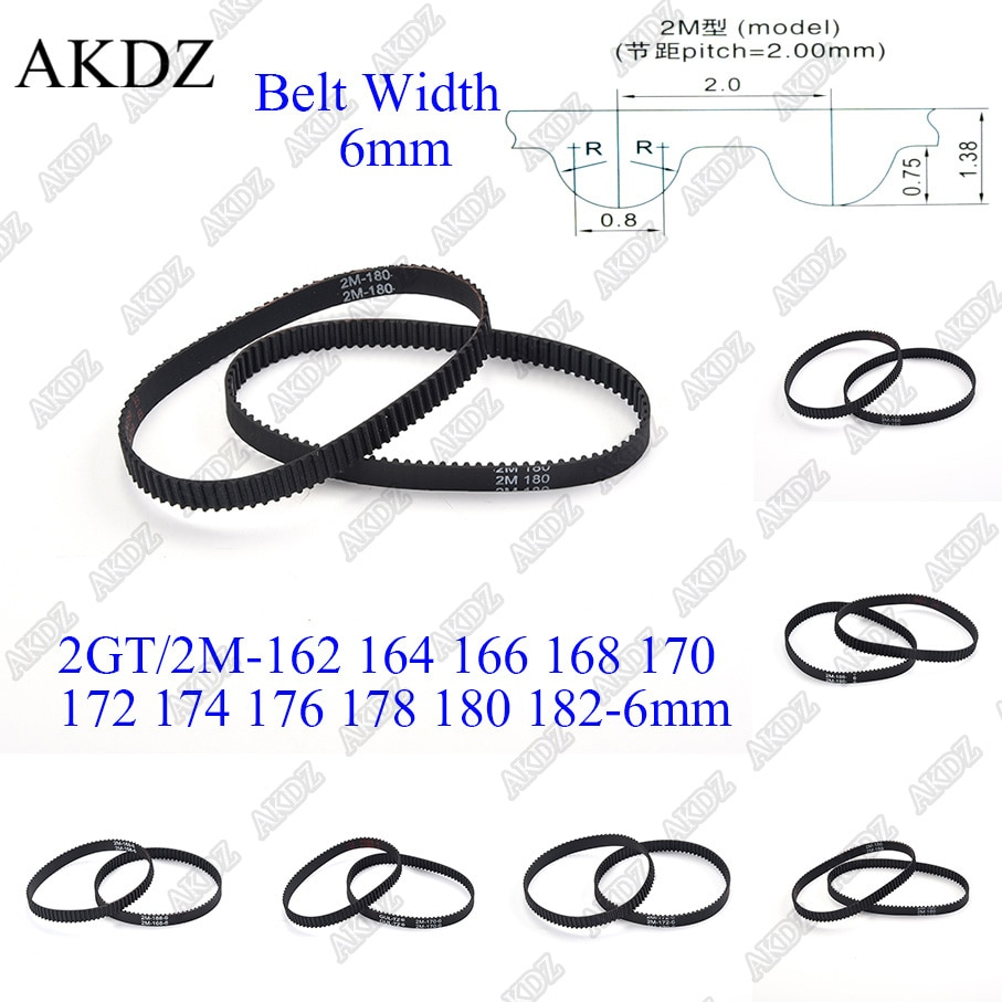 2mgt 2m 2gt synchronous timing belt pitch length 162 164 166 168 170 172 174 176 178 180 182 width 6mm rubber closed 2MGT 2M 2GT Synchronous Timing belt Pitch length 162 164 166 168 170 172 174 176 178 180 182 width 6mm  Rubber closed