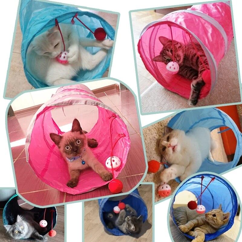 Juguete de túnel para mascotas, tubos de juego con 2 agujeros, bolas...