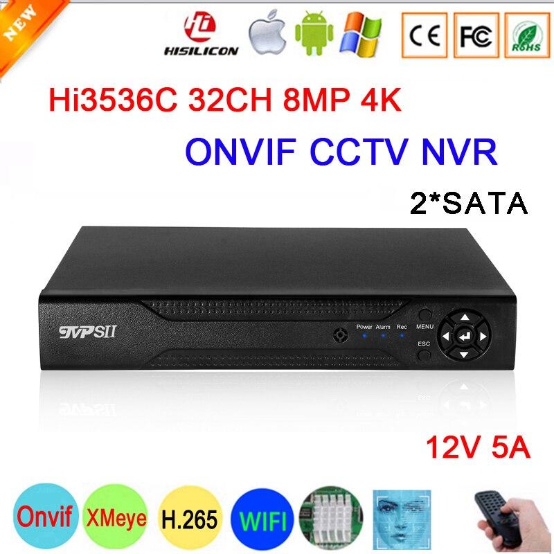 كشف الوجه 12 فولت 5A Hi3536C XMeye مراقبة مسجل فيديو 8mp 4K 32CH 32 قناة H.265 + 2 * SATA Onvif CCTV DVR نظام NVR
