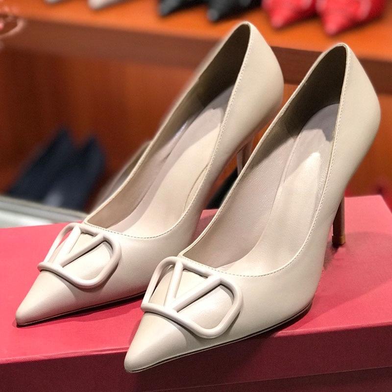 Marca de moda alta qualidade bombas de couro genuíno dedo do pé apontado stiletto bombas vestido festa sapatos casamento