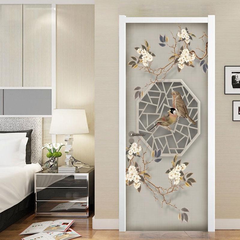 Chinese Style Flower Bird Door Sticker 3D Mural Wallpaper Living Room Bedroom Study Door DIY Self-adhesive Decoration Sticker skull style alloy diy car sticker w self adhesive tap silver