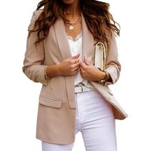 Chic Lady Autumn Lapel Solid Color Coat Long Sleeve Women Jacket Blazer Women Jacket Blazer