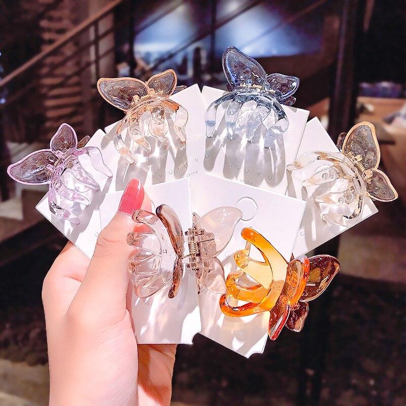 Geléia cor borboleta mini garras de cabelo feminino plástico grampos de cabelo barrettes transparente grampos de cabelo diy ferramentas de estilo acessórios para o cabelo