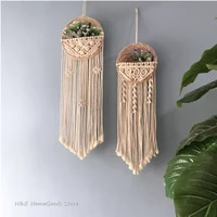 round flower pot tapestry hand woven macrame wall hanging art woven bohemian crafts for room decoration dedroom livingroom