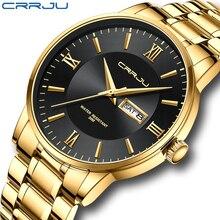 CRRJU Men Luxury Military Sport Wrist Watch Man Gold Quartz Steel Waterproof Watches Male Clock Watc