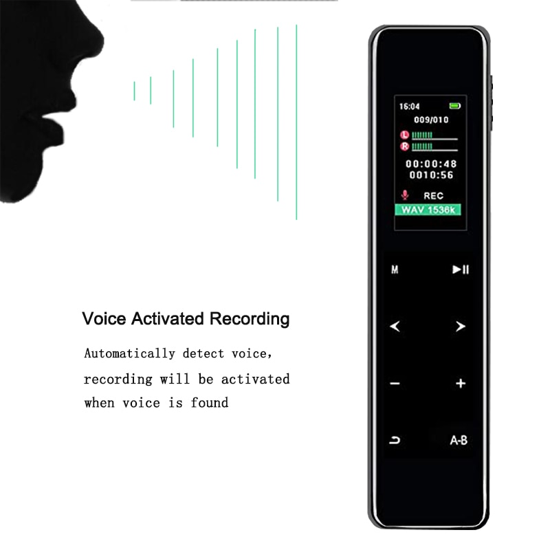 Voice Recorder  Activated Portable 16GB MP3 Player  Audio With Speakers Playback Formats WAV FLAC OGG HISTARSHIP