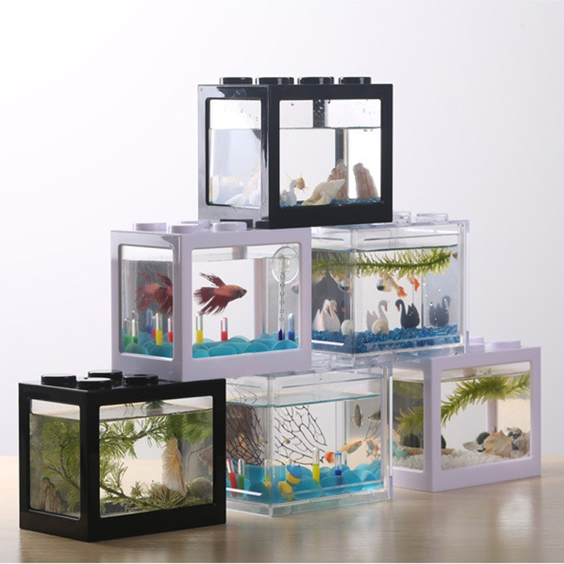 Mini Fish Tank Stackable Aquarium Creative Building Block Fish Cylinder Landscape Seawe Office Decoration Ecological Pet Box