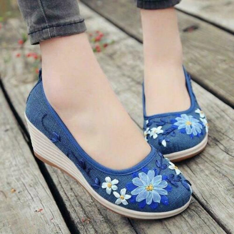 Zapatos de verano Retro con flores chinas bordadas, Tacón de Cuña Casual nacional, de lino y algodón sin cordones, disponible en 5 colores, B128