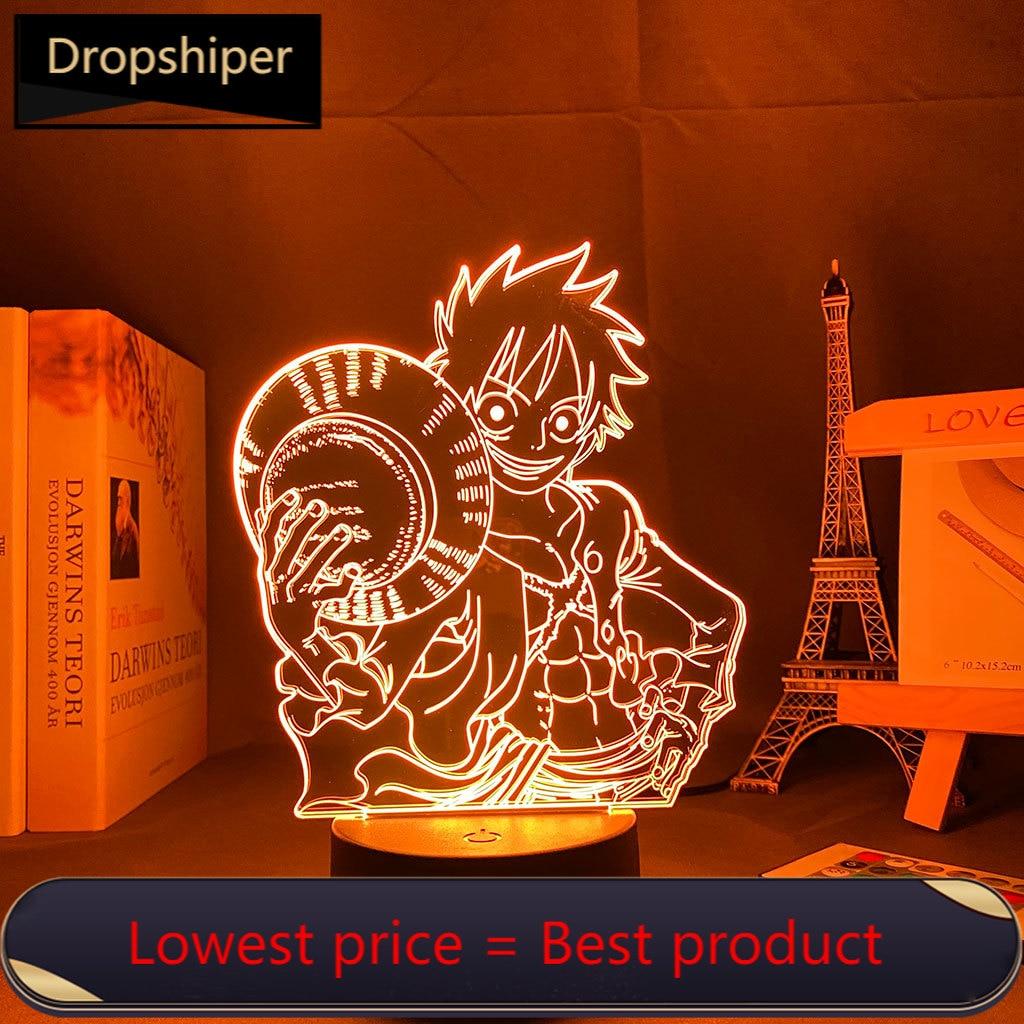 ночники 3d Lamp Anime One Pieces Luffy Led Night Light Brook for Kids Bedroom Decor Child Sleeping LED Night light ночники для спальни
