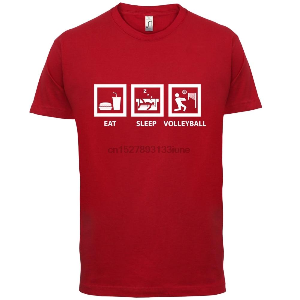 Comer dormir Mens T-Shirt - Volleyer bola playa interior impresión T camisa Mens Tops calientes de manga corta Camiseta