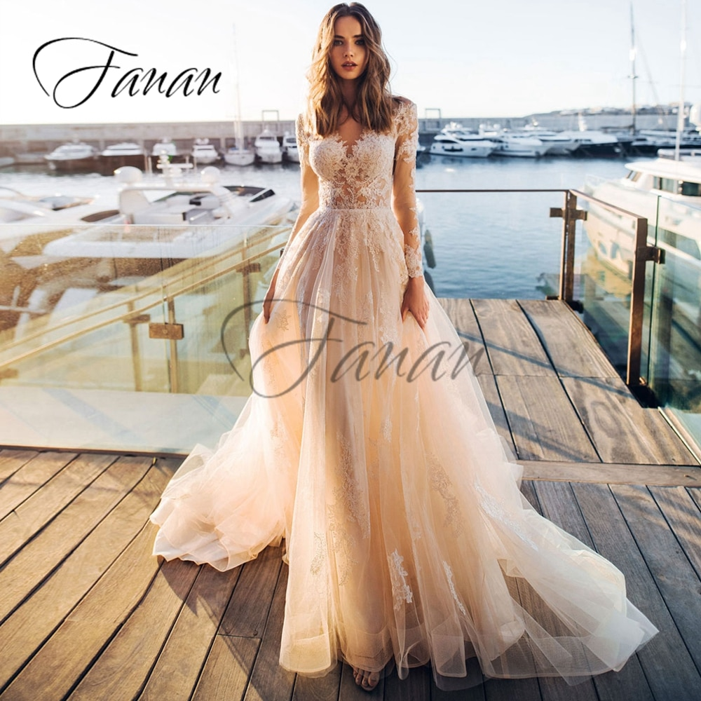 2021  luxury design European and American high-end fashion simple V-neck dress temperament sexy backless main wedding dress