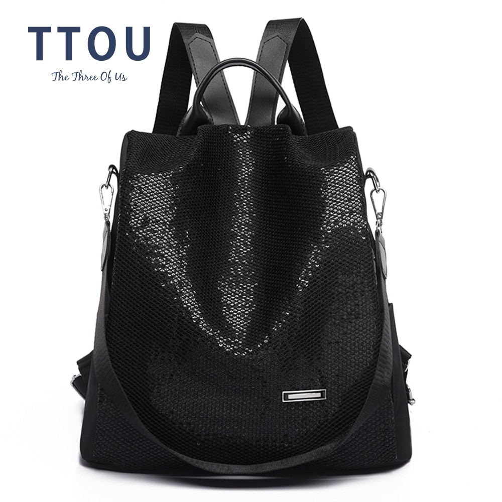 Mochila multifunción antirrobo de gran oferta para mujer, mochila escolar de gran capacidad con lentejuelas, bolsa de viaje de hombro, mochilas casuales salvajes