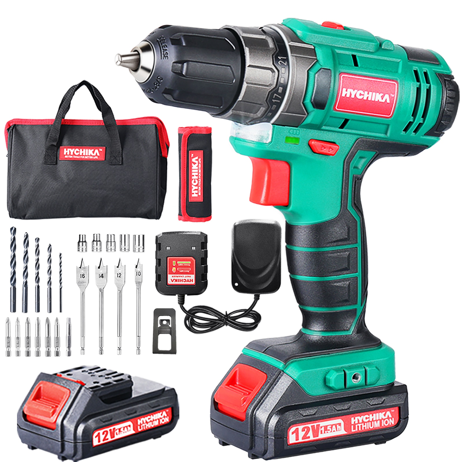 HYCHIKA 12V Double-Battery Cordless Electric Drill Screwdriver Power Driver Lithium-Ion Battery Hand