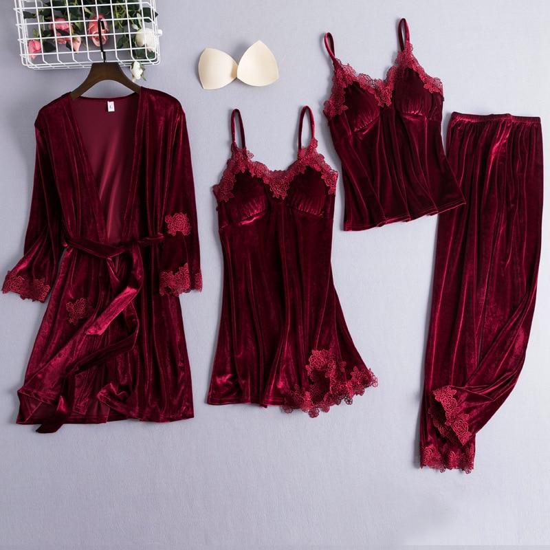 Chinese Style Female Velour Robe Gown Classic Burgundy Sleepwear 4PCS Nighty Set Lace Patchwork Nightwear Bathrobe Sexy Negligee