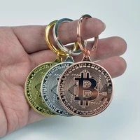 Pure gold silver Plated Bitcoin Keychain Bit Coin Coin Key Chain Collectible Physical Metal Coin