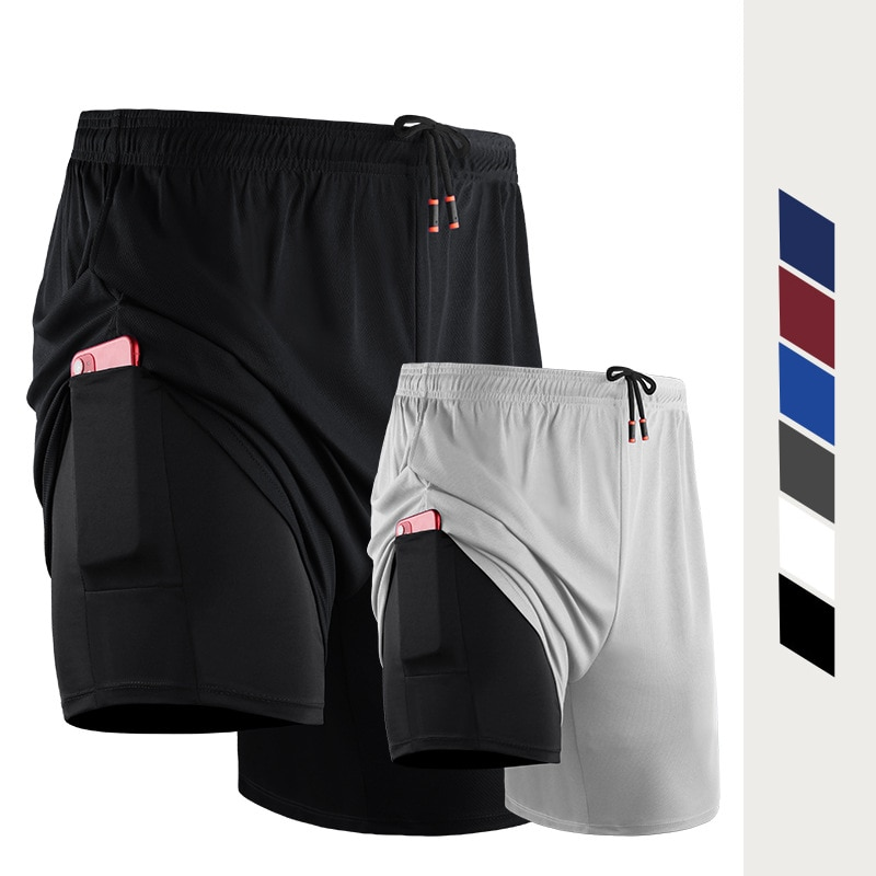 Men 2 In 1 Running Shorts Gym Jogging Fitness Training Quick Dry Beach Short Male Summer Sports Work