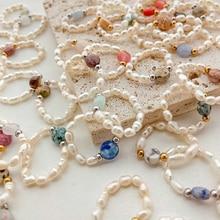 2021 Freshwater Pearl Rings for Women Korean Fashion Wedding Rings  Gift Cute Romantic Natural Stone