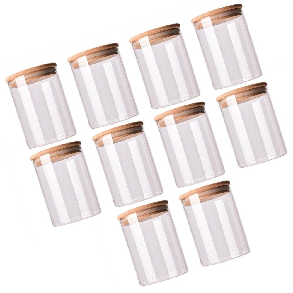 10 قطعة زجاج مختومة علبة طعام خزان غطاء من البامبو علبة شاي (شفاف)