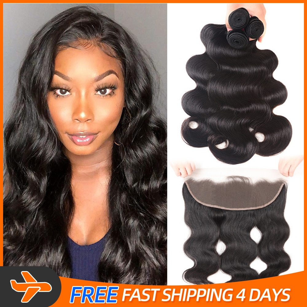 3/4 Bundles With Frontal 13X4 Lace Frontal Body Wave 100% Natural Human Hair 30Inch Baby Hair Handmade Virgin Hair Weave