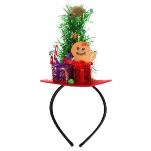 1Pcs Christmas Headband Xmas Ornaments Headwear with Christmas Tree Candy Canes Gift Box for Party Hair Hoop Hair Accessories