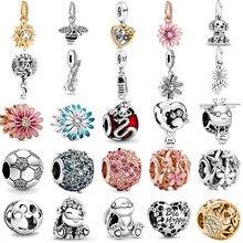 Весна 2020, новинка, серебряные бусины 925 пробы, блестящая лапа, принт и сердце, амулеты, подходят для оригинальных браслетов Pandora, для женщин, сделай сам, ювелирные изделия