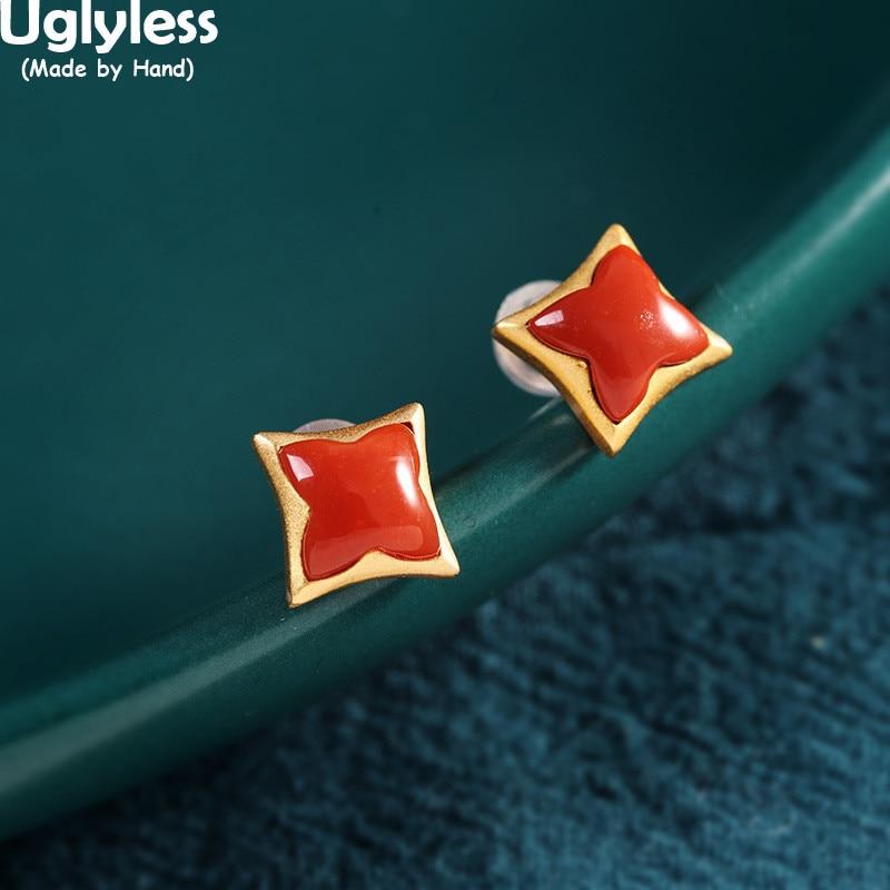 Pendientes de tachuelas cuadradas sin forma Uglyless para mujer, gemas naturales carnosas, pendientes de ágata, oro 925 Plata, joyería de flores Brincos