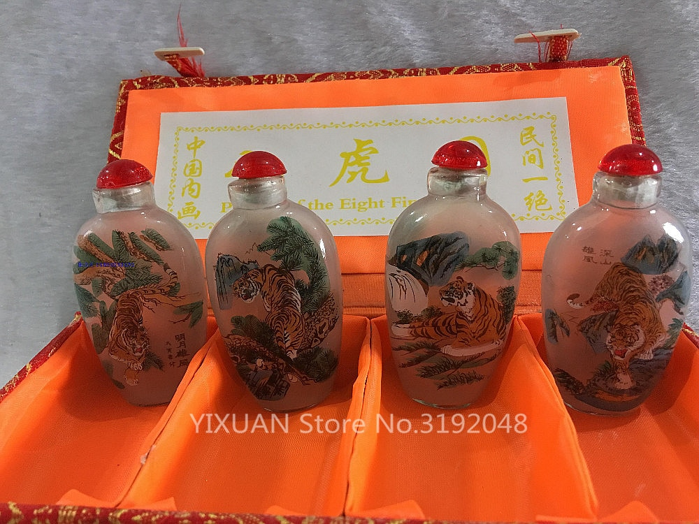 ¡4 pc colección China antiguo ocho Tigre pintura de vidrio tabaco botella-pintura...