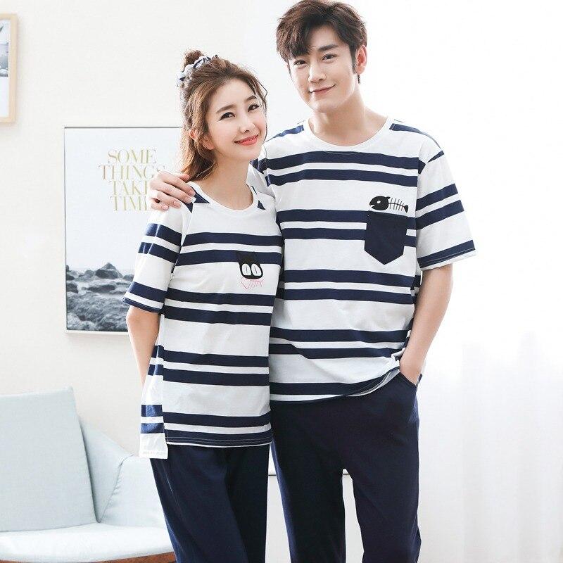 Conjunto de Pijama de algodón de manga corta para Mujer, Conjunto de Pijama de verano coreano informal a rayas, ropa de dormir, Pijama para Mujer, ropa de hombre