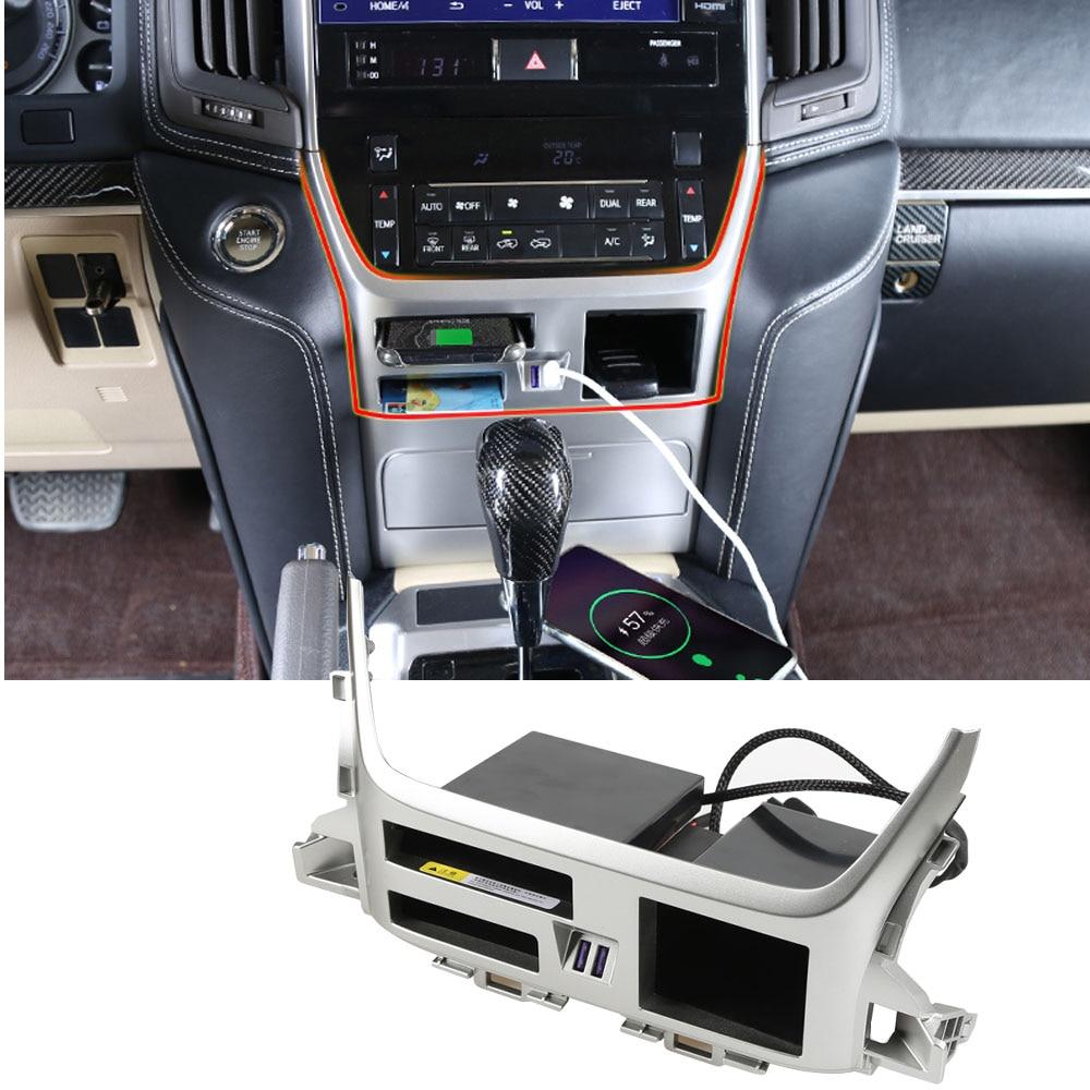 QC3.0 شاحن لاسلكي USB مركز وحدة التحكم صندوق تخزين لتويوتا لاند كروزر 200 2016 2017 2018 2019 2020 اكسسوارات