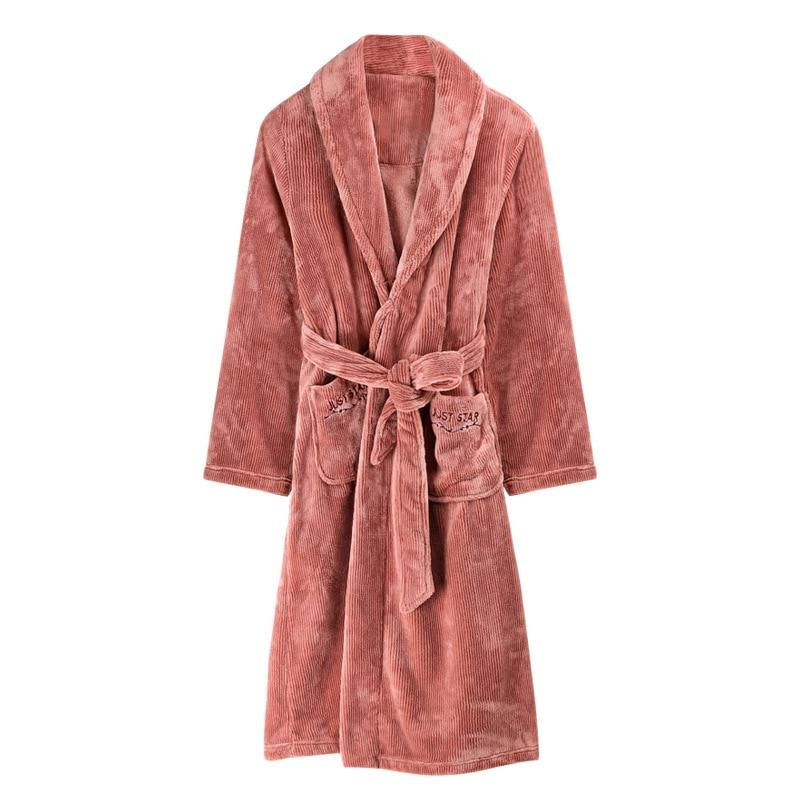 Flannel Women Robes Winter Full Sleeves Warm One-piece Solid Bathrobe with Sashes Turn-down Collar Long Bride Robe Sleepwear