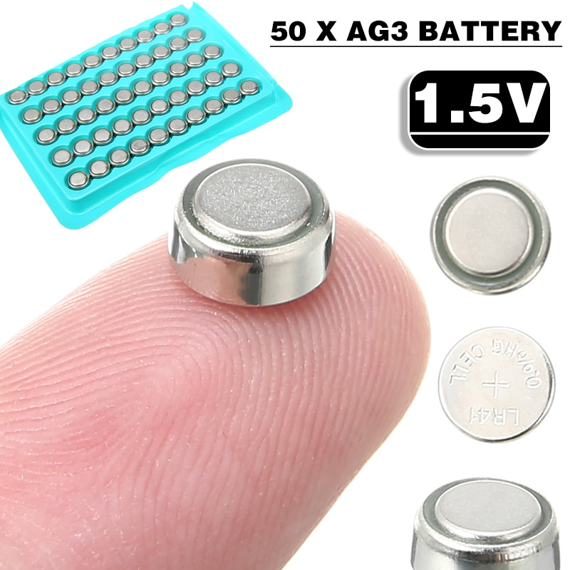 50 Pcs 1.5V AG3 Battery LR41 SR41 Lithium Button Cell For Small Electronic Devices Calculators Watch Battery Toy Battery