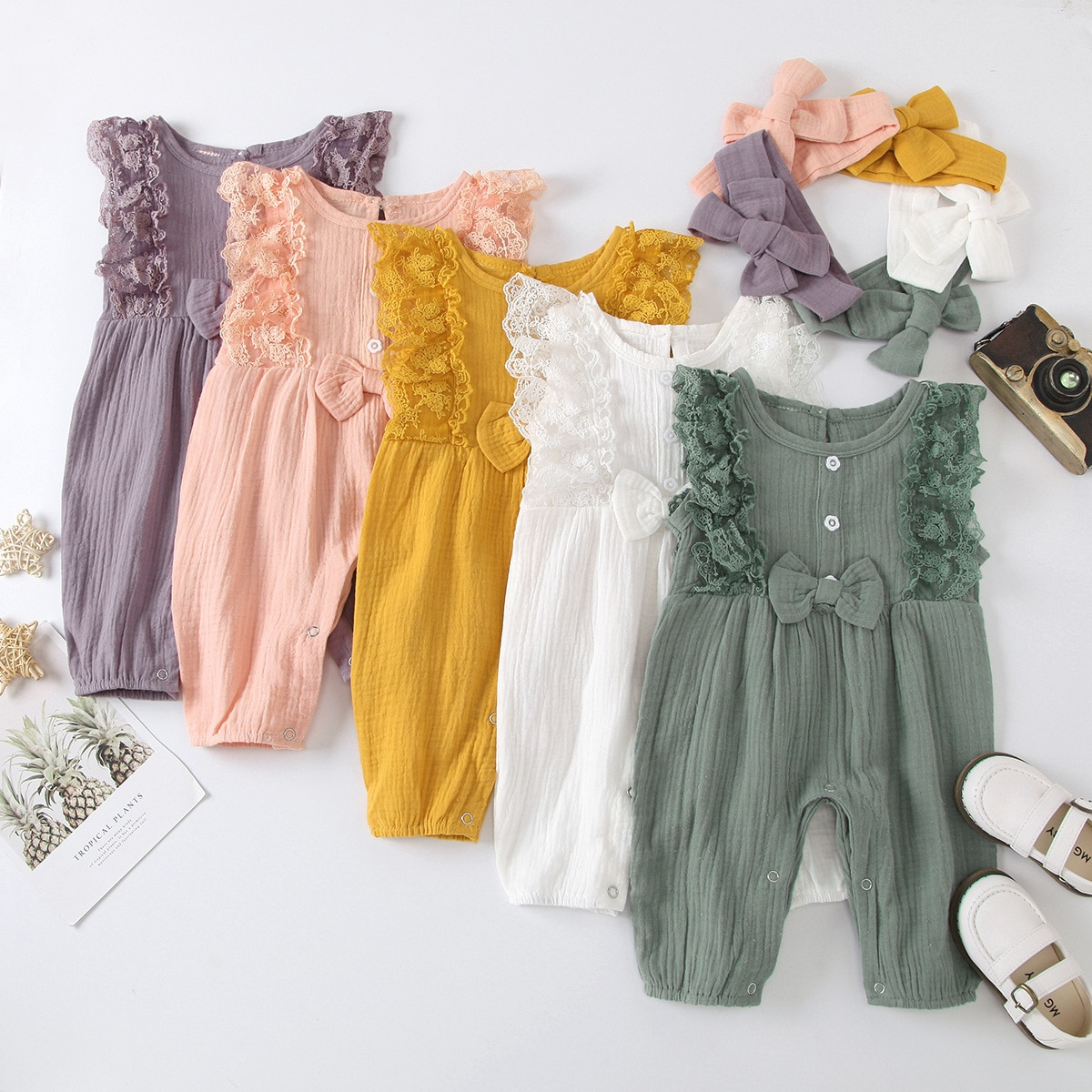 0 3years new babys cotton linen romper summer ruffles sleeveless baby jumpsuit toddler bobo bebe kids children clothes infants New Summer Baby Girls Rompers Solid Cotton Baby Sleeveless Cotton Linen Jumpsuit Toddler Infant Baby Girl Romper Outfits Clothes