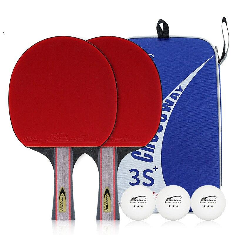 Un juego profesional de 3-estrellas, Mesa bate de tenis raqueta largo mango corto de Ping Pong raqueta granos para principiantes de formación