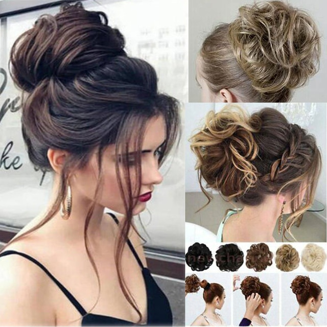 Curly Wavy Bun Hair Extensions for Women Hair Ribbon Ponytail with Elastic Rubber Band Updo Scrunchies Extension Messy Hairpiece