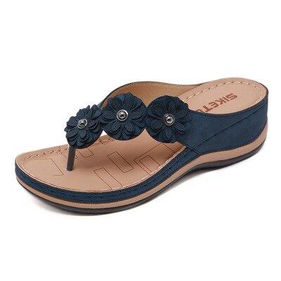 Zapatillas de verano 2020 para mujer, sandalias de playa de vacaciones antideslizantes suaves y cómodas para sutura de coche con flores a la moda para mujer