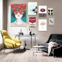 Affiches et imprimes nordiques de fleur de fille  Portrait de mode  Art mural  peinture sur toile  images pour salon  decoration de maison scandinave