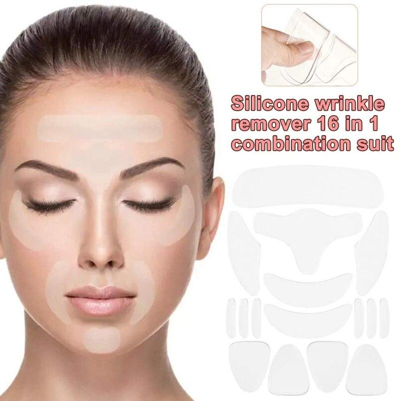 16 шт., многоразовые силиконовые наклейки на шею и лоб