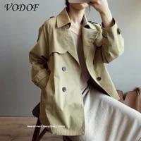 vodof short windbreaker womens autumn loose windbreaker casual stand up collar 2021 spring slim waist short windbreaker
