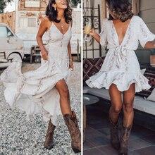 Robe Midi femmes été plage Robe Femme vêtements de sport Robe dos nu serpent imprimé Robe en mousseline de soie dame Chic Robe élégante 2020