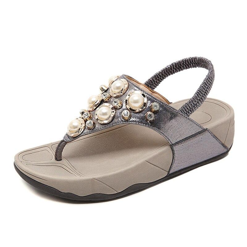 2020 Summer Shoes Women Beach Sandals Flip Flops Pearl Flat Thick Sole Non-slip Women Sandals Fashion Ladies Summer Shoes A2204
