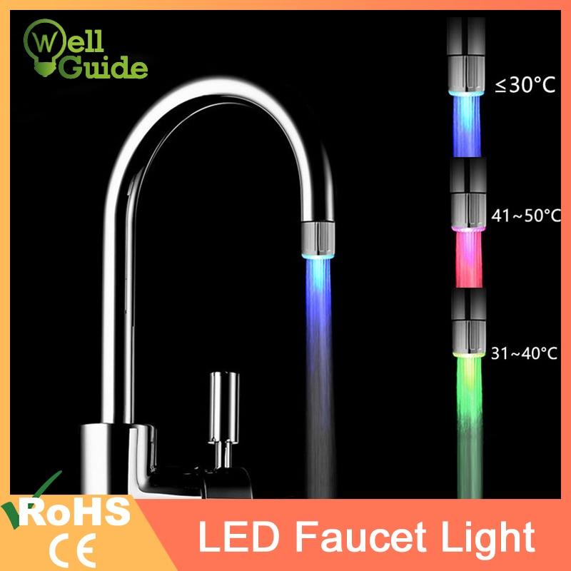 AliExpress - LED Faucet Light Temperature Sensor RGB Glow Shower Water Shower Head Stream Sink Tap Torneira Bathroom Kitchen Accessories
