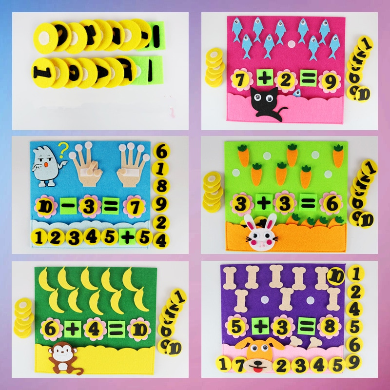 1Pcs Children Toys DIY Kindergarten Non-woven Educational Toys Education Montessori Teaching Aids Math Puzzle Toys addition and subtraction operation games learning math educational toys wooden parent child kindergarten teaching aids toys