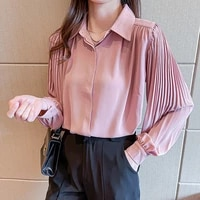 houthion silk womens blouses fashion silk blouse casual new korean long sleeve top buttons solid shirt office lady regular