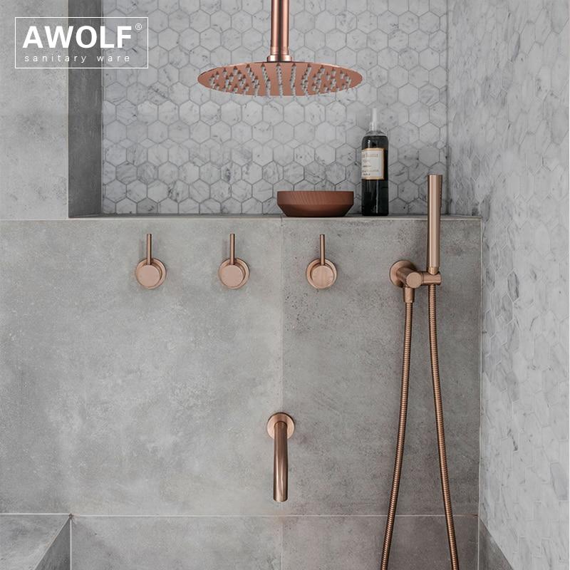 Набор для душа для ванной комнаты, матовый, розовое золото, простота, твердая латунь, 8 дюймов, насадка для душа, смеситель для душа, черный хр...