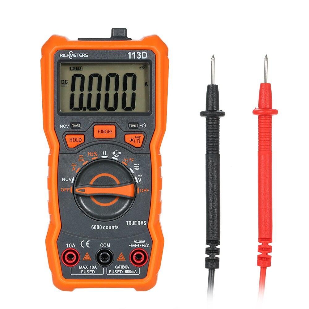 Multimètre numérique richmetres RM113D NCV 6000 comptage automatique de mesure de la température de tension ca/cc