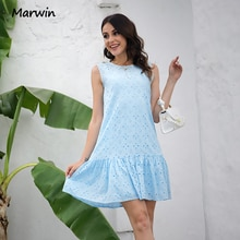 Marwin Long Simple Casual Solid Pure Cotton Sleeveless Holiday Style High Waist Fashion Knee-Length