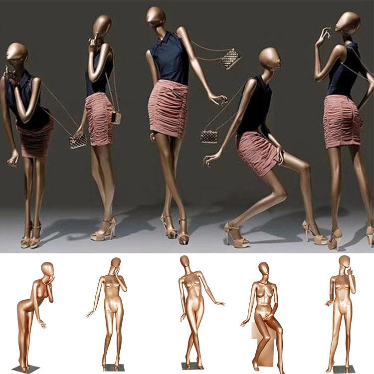 عارضة أزياء رمادي لامع كامل الجسم الألياف الزجاجية المرأة نموذج للعرض