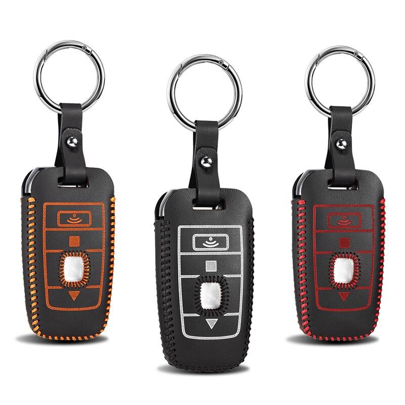 Nuevo estuche de cuero genuino de alta calidad para llaves de coche con Control remoto