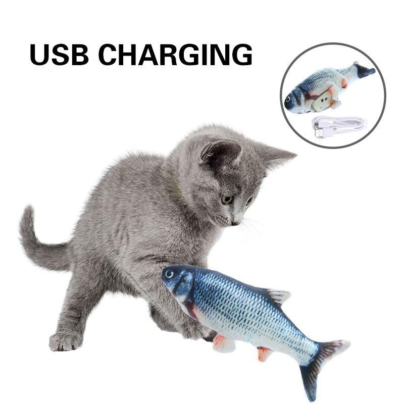Gato USB peces juguetes de hierba gatera de peluche juguetes de peluche de almohada masticar morder juguete Flop gato meneando juguete de Catnip